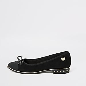 RU-Loafer mit Nieden in schwarzem Wildlederimitat