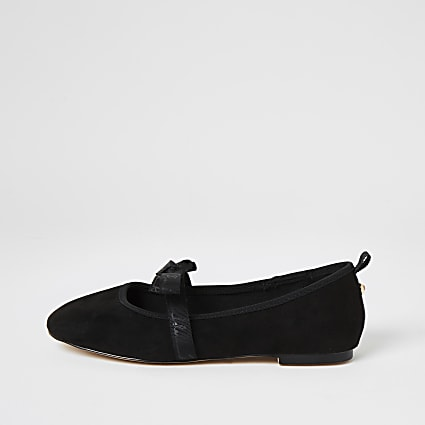 Black suede bow strap ballet shoes