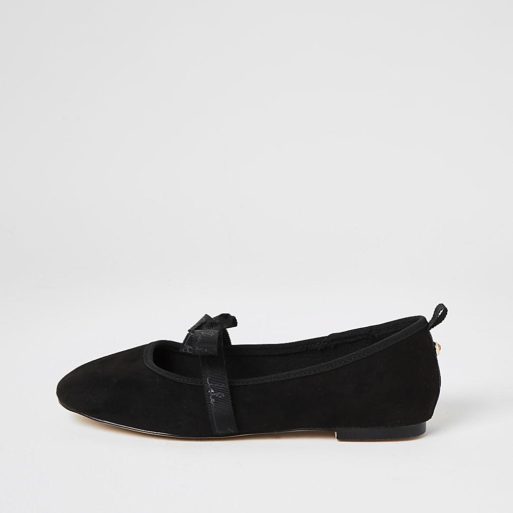Black suedette bow strap ballet shoes