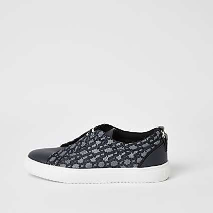 Blue RI jacquard elasticated trainers