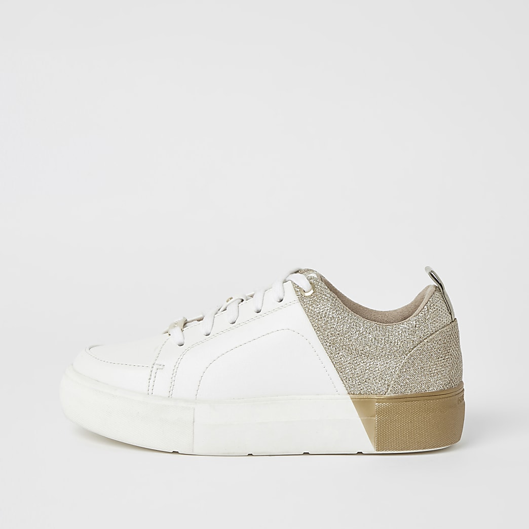 Gold metallic spliced lace-up trainers