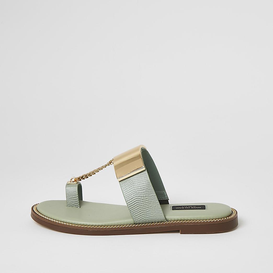 Sandales vertes avec chaîne, coupe large