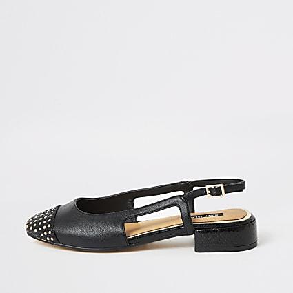 Black studded toe low block heel shoes