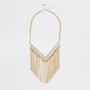 Gold colour diamante fringe necklace