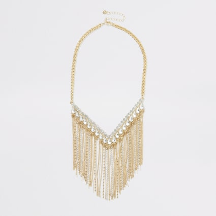 Gold colour diamante fringe necklace