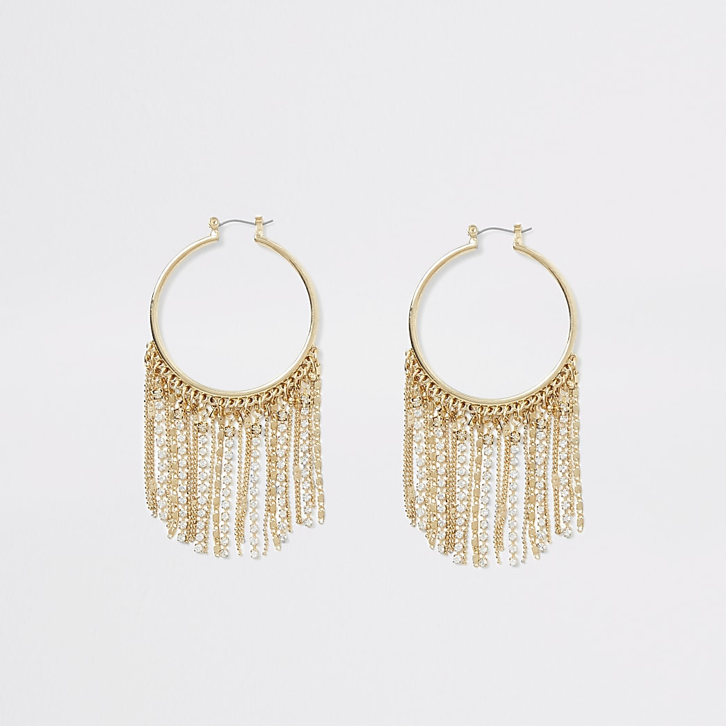Gold colour fringe hoop earrings