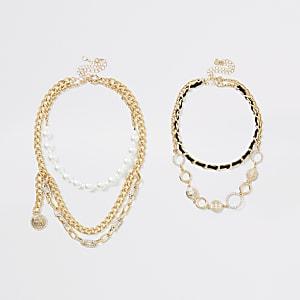 Goldfarbenes RI-Halsketten-Set im Lagenlook