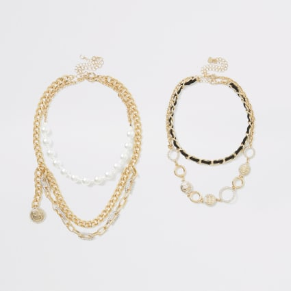Gold colour RI layered necklace multipack