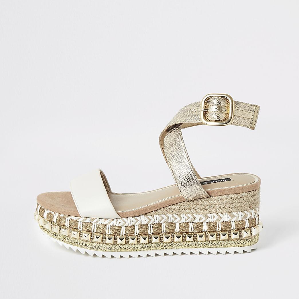 Beige platform sandalen met sleehak met siersteentjes