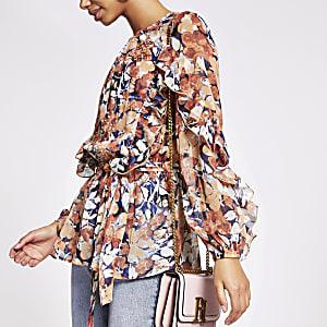 Roze verfraaide blouse met print en ruches