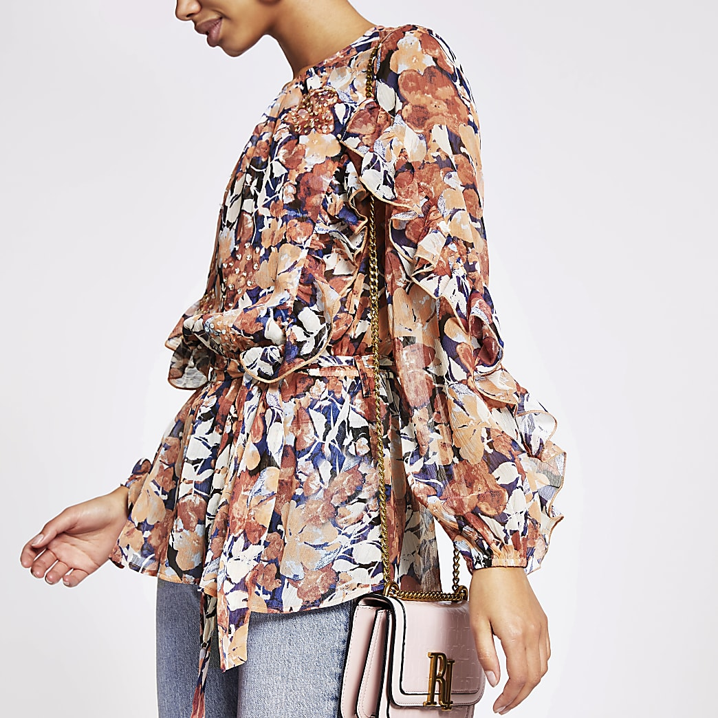 Pink printed embellished frill blouse