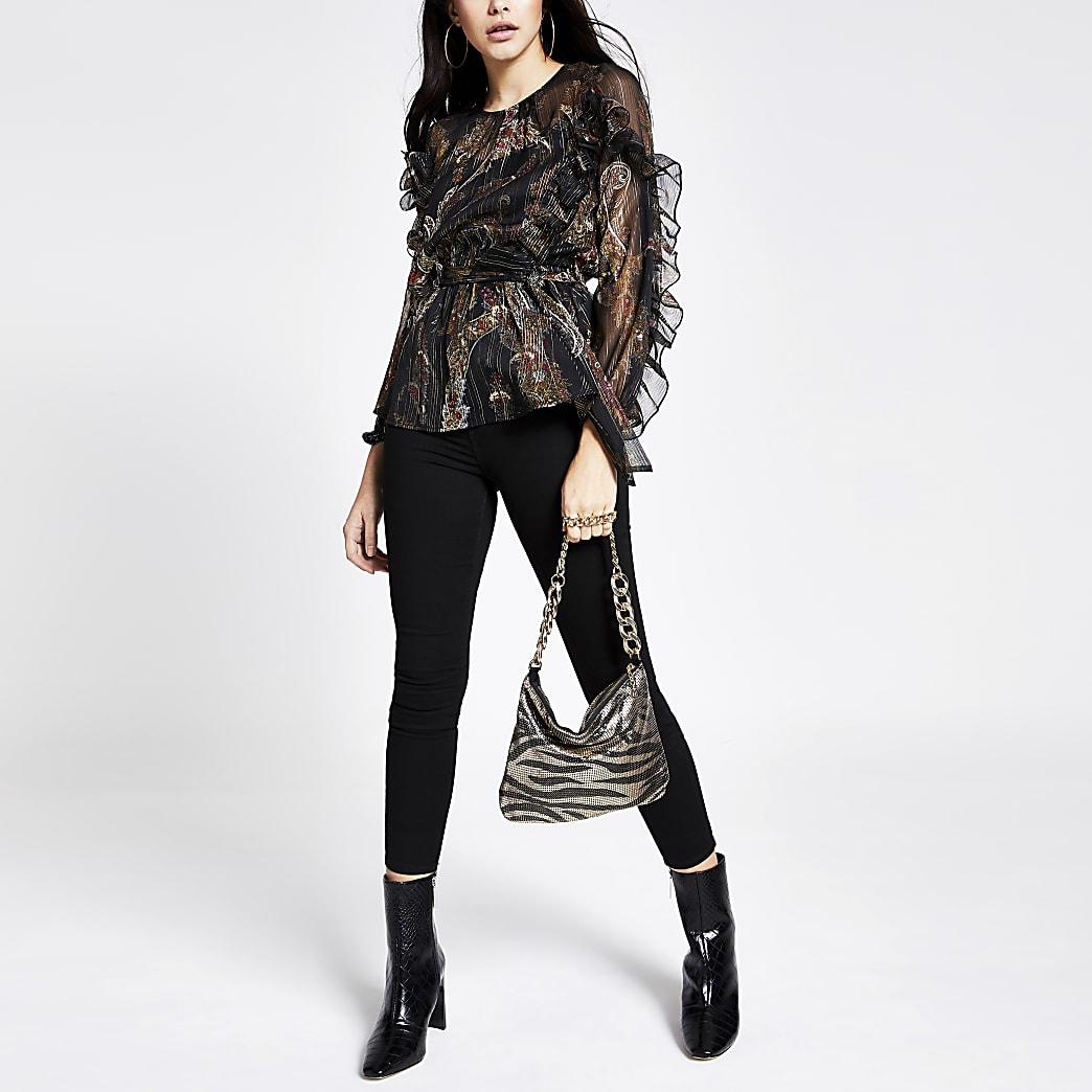 Zwarte blouse met strikceintuur en ruches