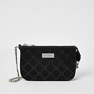 Schwarze Handtasche mit RI-Muster aus Strass