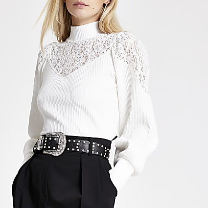 Petite white lace high neck top