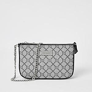 Graue Handtasche mit RI-Monogramm-Muster
