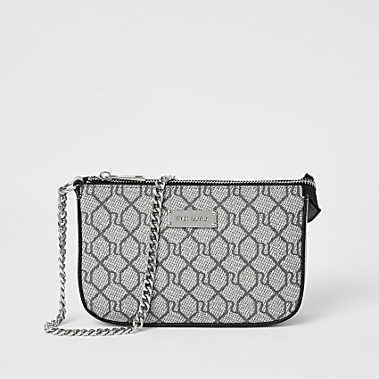 Grey RI monogram underarm bag