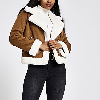 Petite brown faux suede shearling jacket