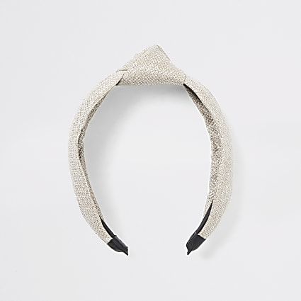 Gold metallic textured knot headband