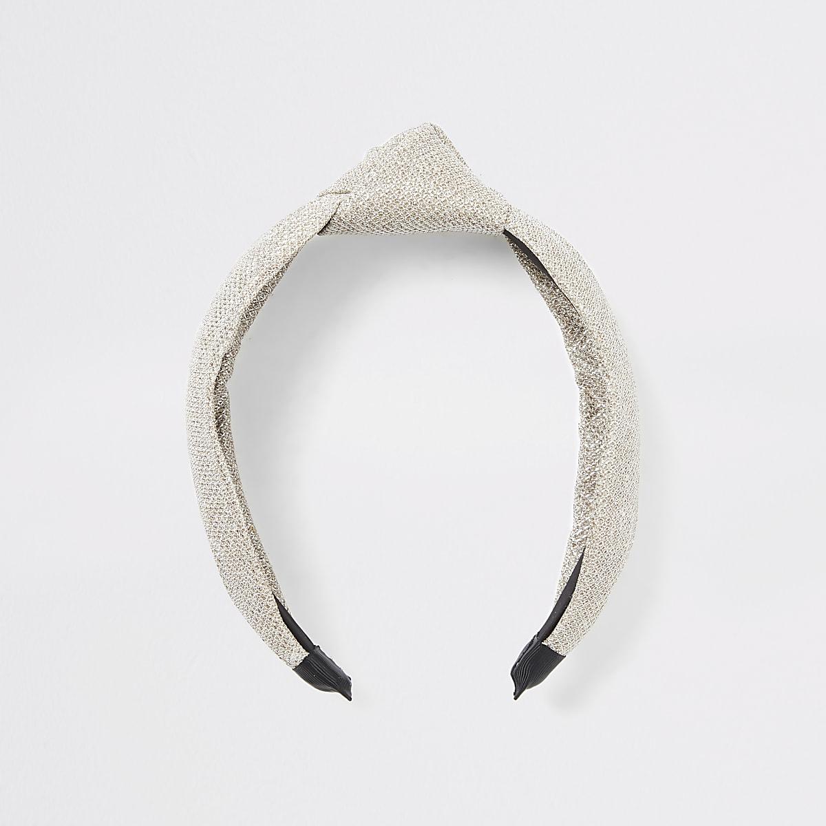 Goudkleurige metallic haarband met knoop en textuur