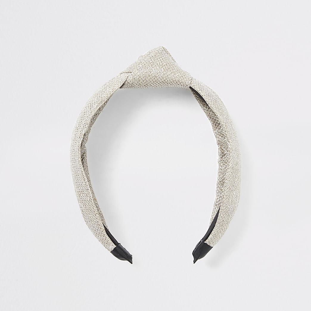 Serre-tête texturé avecnœuddorémétallisé