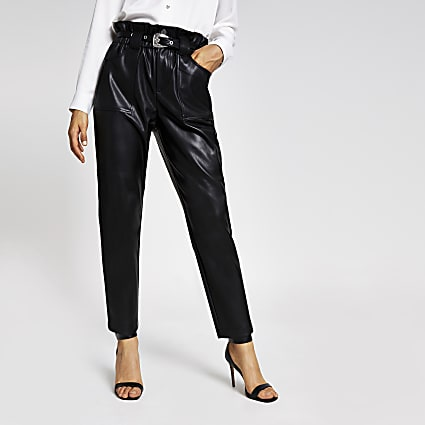 Black faux leather belted peg trousers
