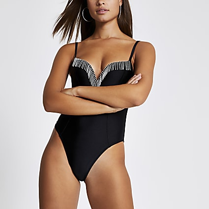 Black diamante tassel plunge swimsuit