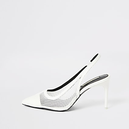 White mesh slingback heeled court shoes