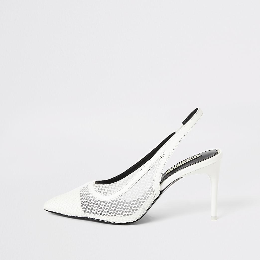 White mesh slingback heeled court shoes