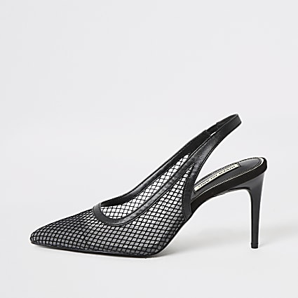 Black mesh slingback heeled court shoes