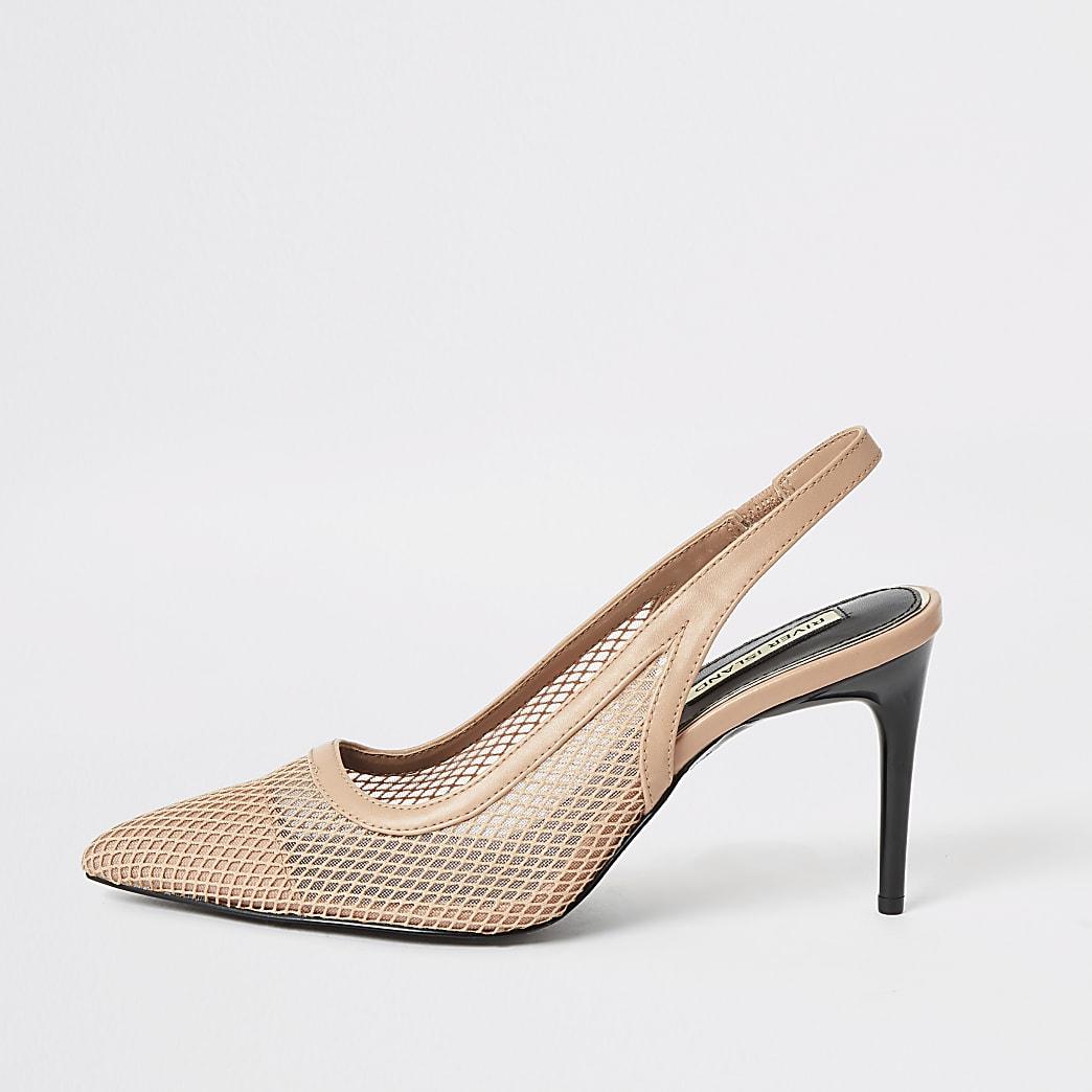 Pink mesh slingback heeled court shoes