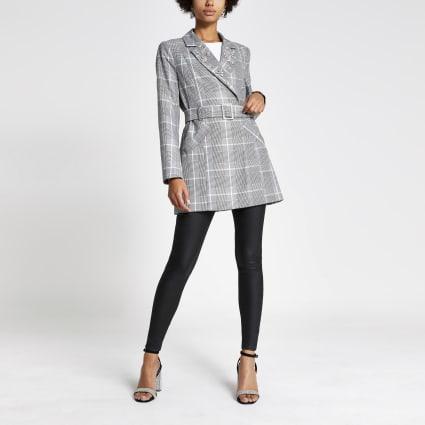Grey check embellished belted longline blazer
