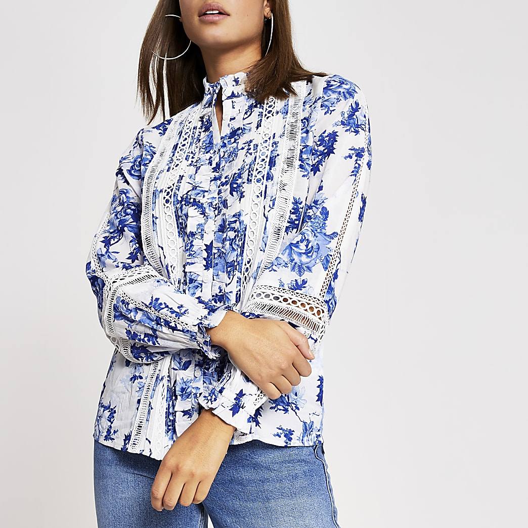Blue floral print frill embroidered blouse