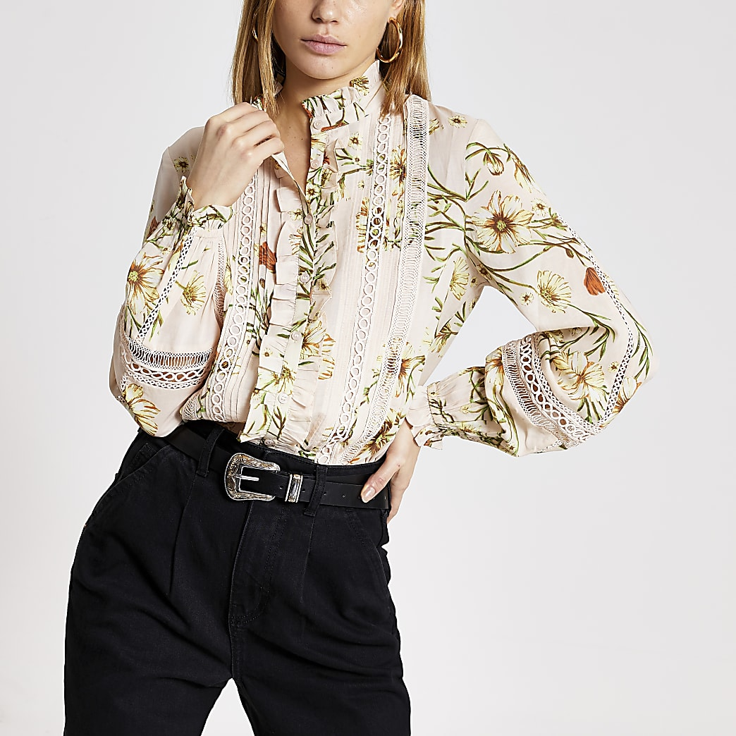 Pink floral embroidered frill shirt