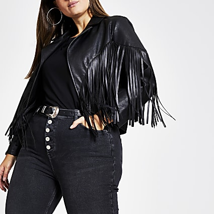 Plus black faux leather fringe crop jacket
