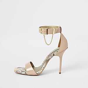 Roze lakleren minimalistische sandalen met hak