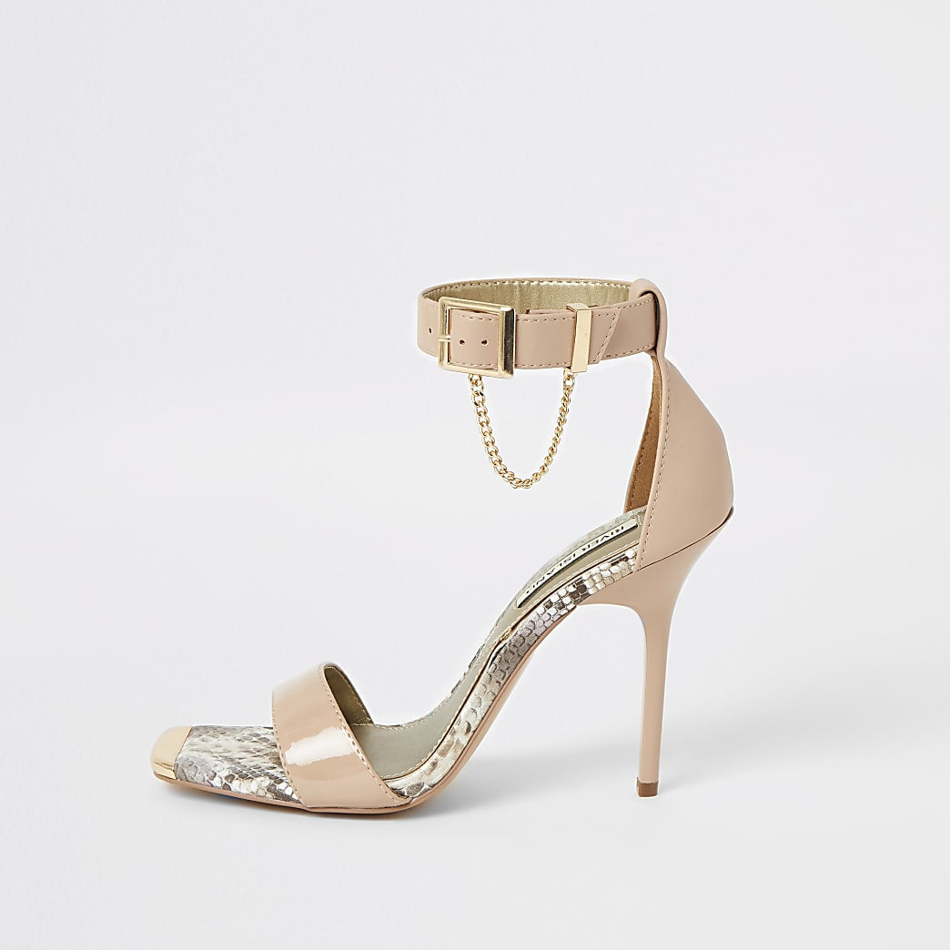 Pink patent barely there heeled sandals