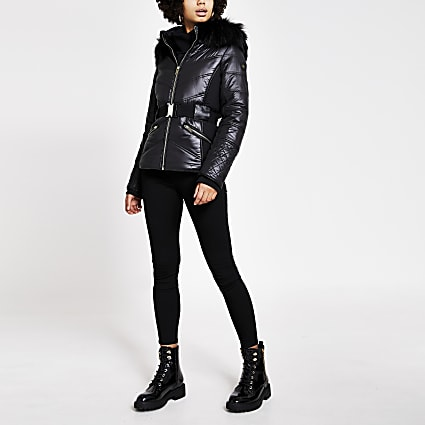 Black faux fur hood belted fitted jacket