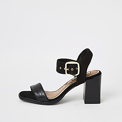Black two part block heel wide fit sandals