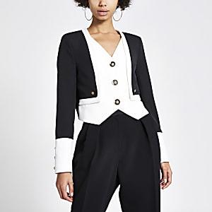 Top style veste noir à double épaisseur