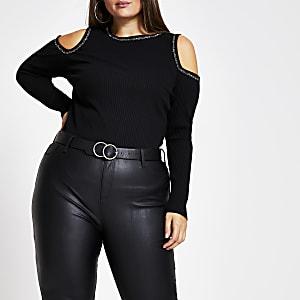Plus – Schwarzes T-Shirt mit Schulterausschnitten und Strassbesatz