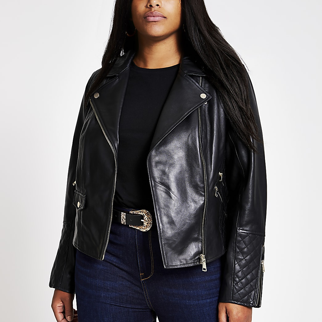 Plus black leather biker jacket