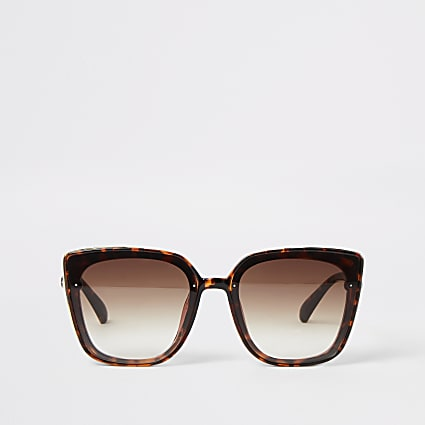 Brown tortoiseshell gold side glam sunglasses