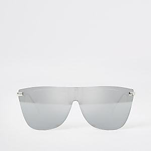 Silberne Visor-Sonnenbrille
