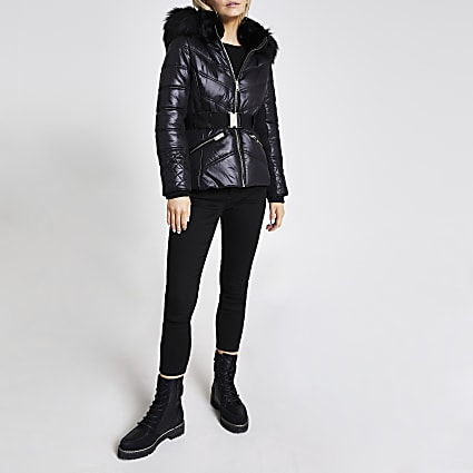Petite black padded faux fur fitted coat