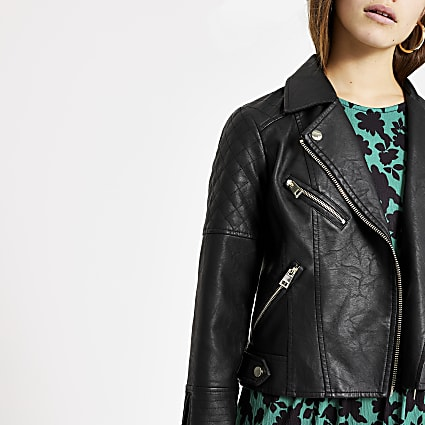 Petite black faux leather quilted jacket