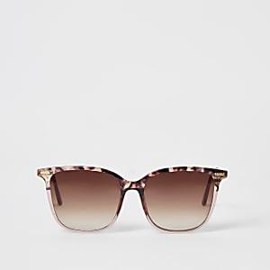 Roze zonnebril met D-montuur en schildpadprint