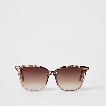 Pink tortoiseshell D-frame sunglasses