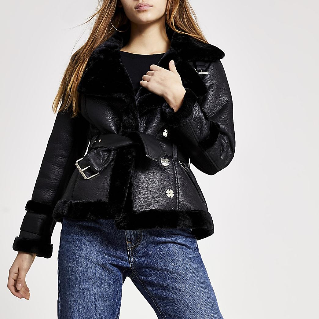Petite black shearling belted jacket