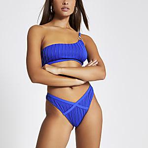 Blauwe geribbeld hoogopgesneden bikinibroekje