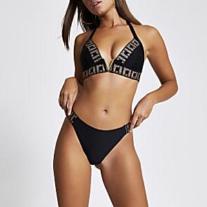 Zwart hooguitgesneden verfraaid bikinibroekje met RI-print